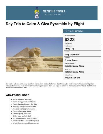 Day Trip to Cairo & Giza Pyramids by Flight - Memphis Tours Egypt