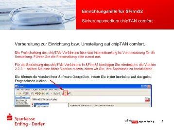 Einrichtungshilfe für SFirm32 - und Stadtsparkasse Erding - Dorfen