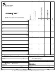AED test sheet - Lifesaving Society