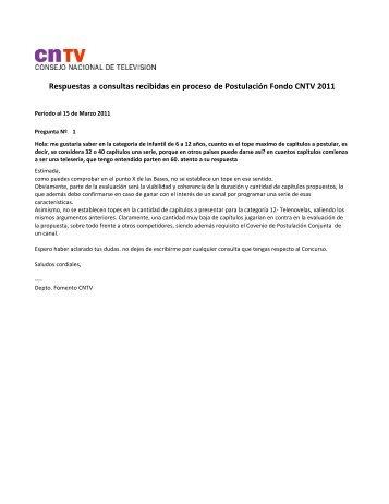 Respuestas a Consultas realizadas en el Proceso de ... - CNTV