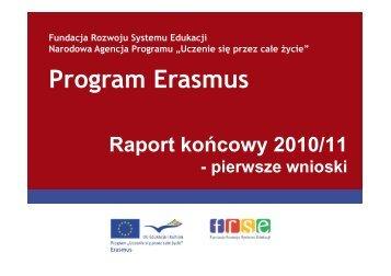 Raporty końcowe z roku 2010/11 - Erasmus