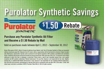 Purolator Synthetic Savings - Purolator Auto Oil & Air Filters