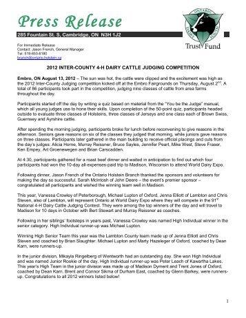 Press Release - 4-H Ontario