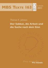 Der Sabbat, die Arbeit und die Suche nach dem Sinn - Martin Bucer ...