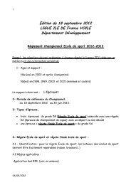 Réglement du Championnat Ecole de Sport 2012-2013