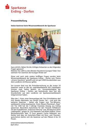 Stolze Gewinner beim Wissenswettbewerb - und Stadtsparkasse ...