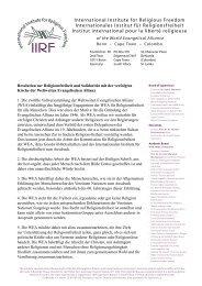 International Institute for Religious Freedom Internationales Institut ...