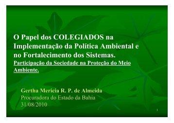 O Papel dos COLEGIADOS na Implementação da Política Ambiental ...