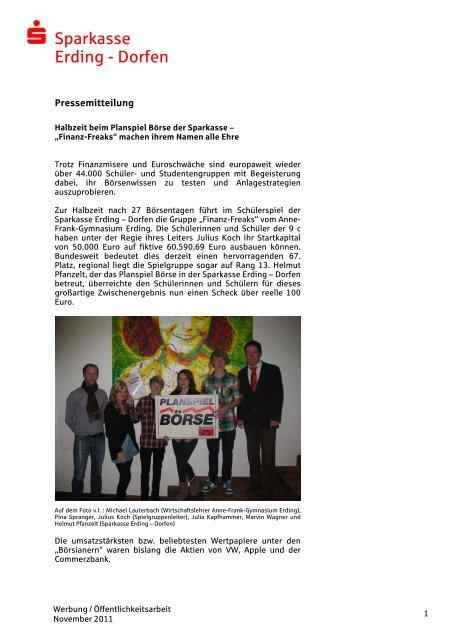 Bericht zur Halbzeit 2011 - und Stadtsparkasse Erding - Dorfen