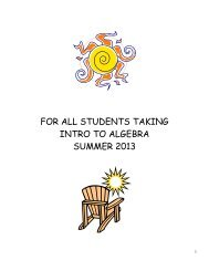 Intro to Algebra Summer Math Packet 2013 - Central Dauphin ...