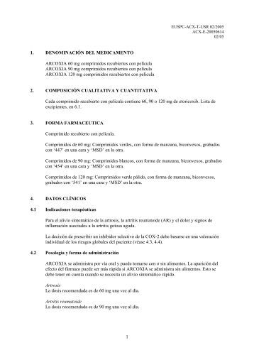 1 1. DENOMINACIÓN DEL MEDICAMENTO ARCOXIA 60 mg ...