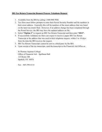 Irs Tax Transcript Request Process