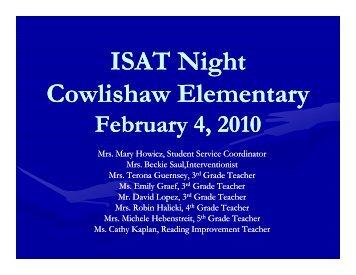 ISAT Night Cowlishaw Elementary - Cowlishaw Elementary School