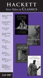 Hackett Classics catalog, Fall 2007 - Hackett Publishing Company
