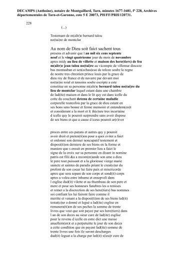 1679 Testament Bernard Talon notaire de Monclar