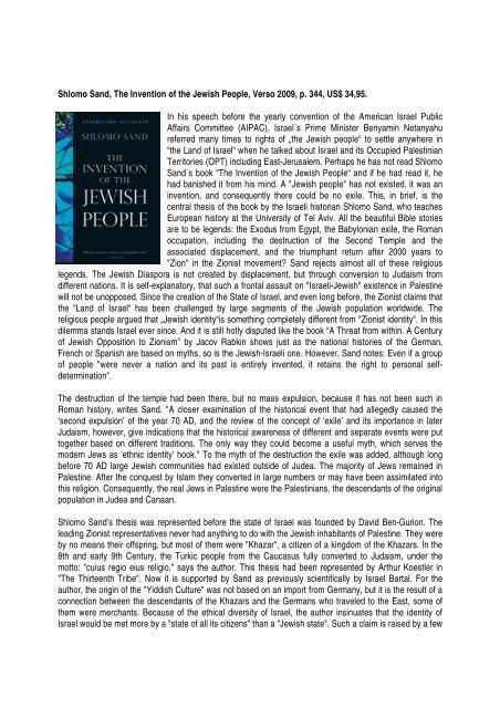 Shlomo Sand, The Invention of the Jewish People ... - Ludwig Watzal