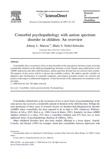 Comorbid psychopathology with autism spectrum disorder in ...