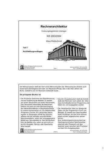 Rechnerarchitektur - Technische Informatik an der Universität Frankfurt
