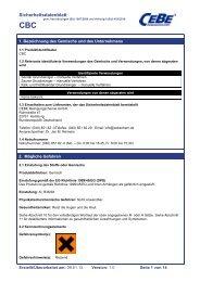 Sicherheitsdatenblatt - CEBE Reinigungschemie GmbH