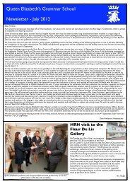 July 2012 Newsletter - Queen Elizabeth's Grammar School