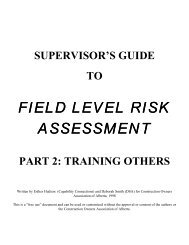 field level risk assessment - Construction Owners Association of ...