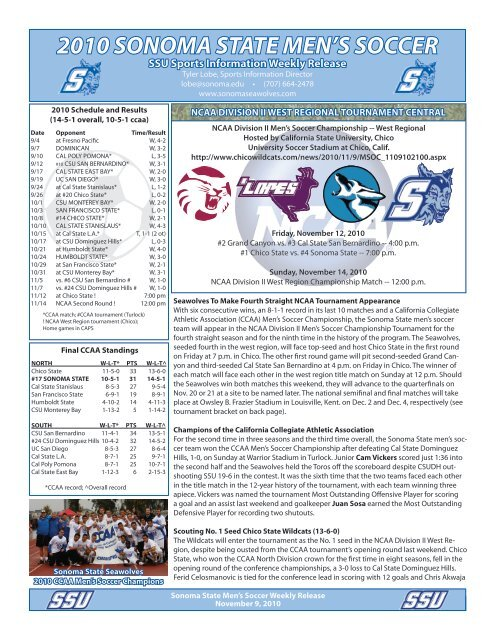 NCAA Division II West Regional Preview - Sonoma State