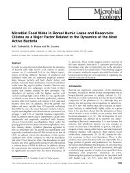 Microbial Food Webs in Boreal Humic Lakes and Reservoirs - UQAM
