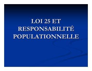 Loi 25 et responsabilité populationnelle – Présentation par Dr Linda ...