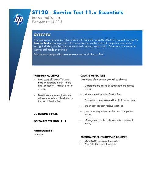 ST120 - Service Test 11 x Essentials - HP Software Education