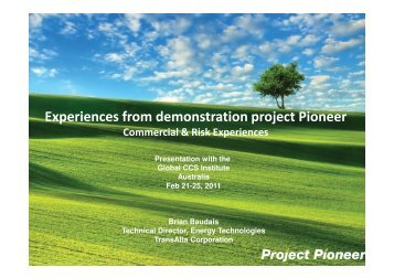 Experiences from demonstration project Pioneer - Global CCS Institute