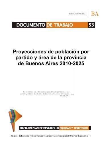 DT 53 Proyecciones de población por partido de la provincia de Buenos Aires