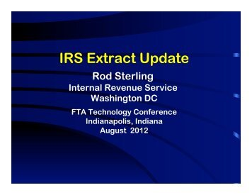 IRS Extract Update