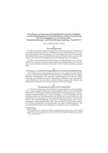 Verordnung zur Erfassung und Qualitätssicherung des Lichtbildes ...