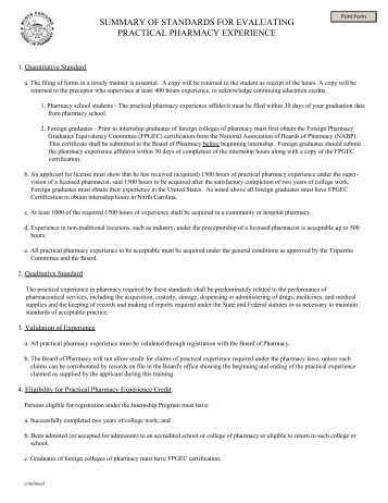 summary of standards for evaluating practical pharmacy experience