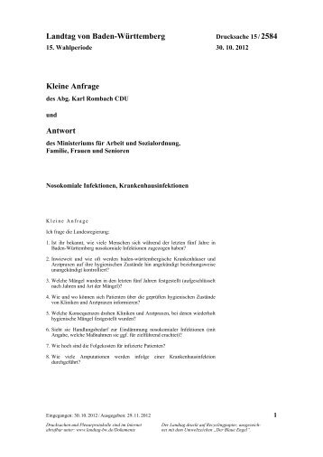 Nosokomiale Infektionen, Krankenhausinfektionen - Landtag von ...