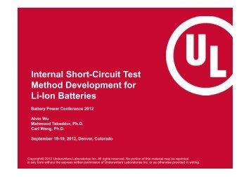 Internal Short-Circuit Test Method Development for Li-Ion Batteries