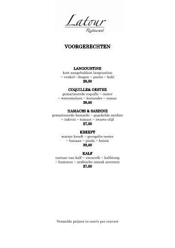 menukaart - Latour