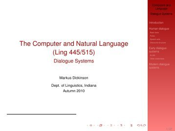 Dialogue Systems - IU Computational Linguistics Program