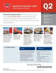Canadian Tire Corporation, Limited 2009 Investor Fact Sheet