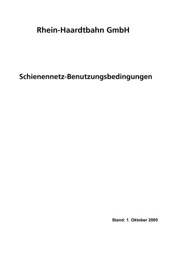 Rhein-Haardtbahn GmbH Schienennetz-Benutzungsbedingungen