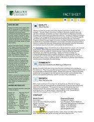 CONTACT QUALITY COMMUNITY GROWTH - Argosy University