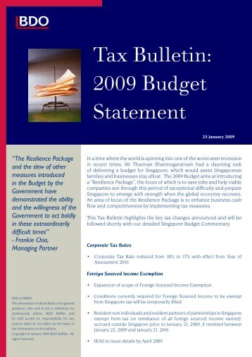 Tax Bulletin: 2009 Budget Statement - BDO Raffles