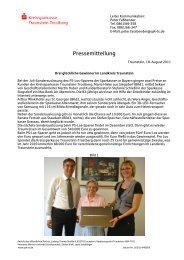 Pressemitteilung - Kreissparkasse Traunstein-Trostberg