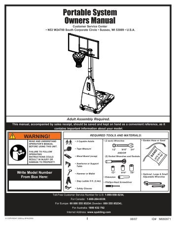 Spalding 54 in. Polycarbonate Portable Basketball System
