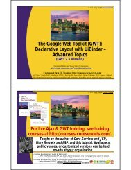 Tutorial section in PDF - Custom Training Courses - Coreservlets.com