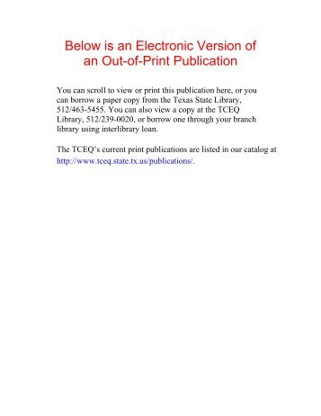 Below is an Electronic Version of an Out-of-Print Publication - Texas ...