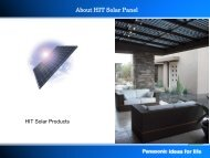 About HIT Solar Panel - SunWize Technologies, Inc.