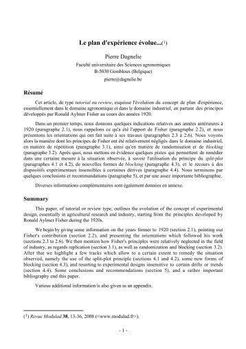 Texte - Livres de statistique de Pierre Dagnelie