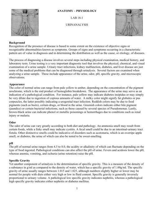 Lab 18-1 Urinanalysis - Physics-matters net
