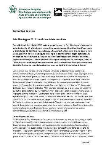Prix Montagne 2013: neuf candidats nominés - Berggebiete.ch